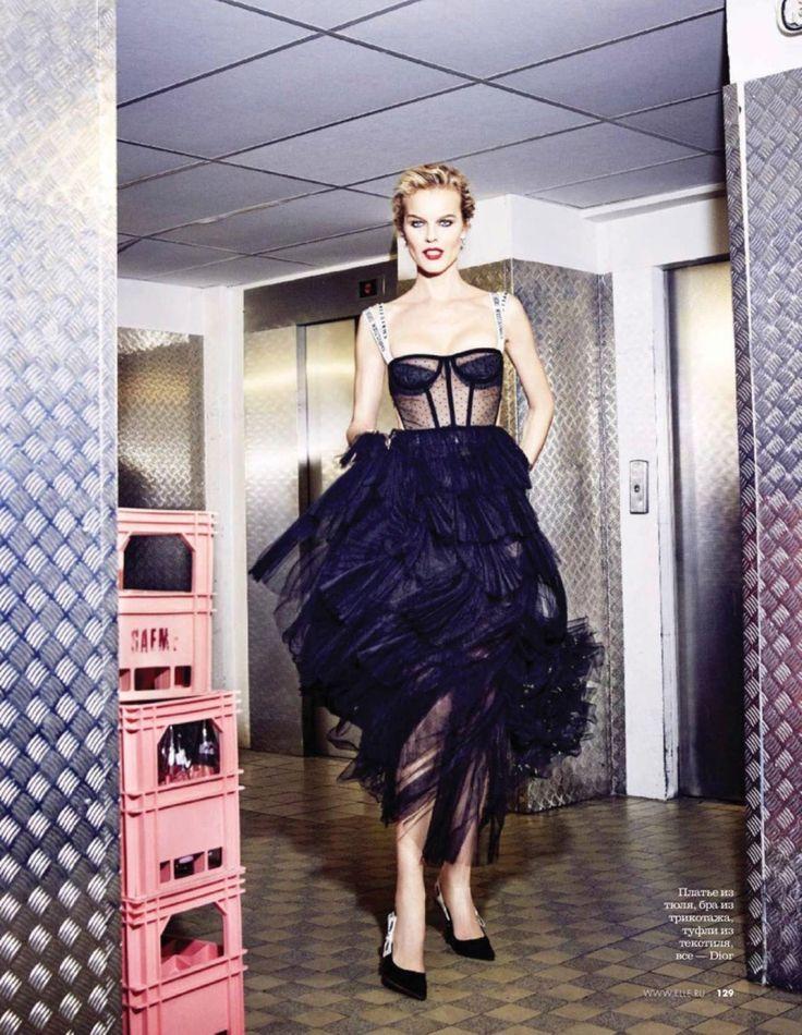 Eva Herzigova models Dior dress with bustier and pumps