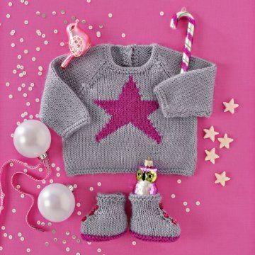 Brassière et chaussons en tricot gris avec étoile rose MCI n° 87