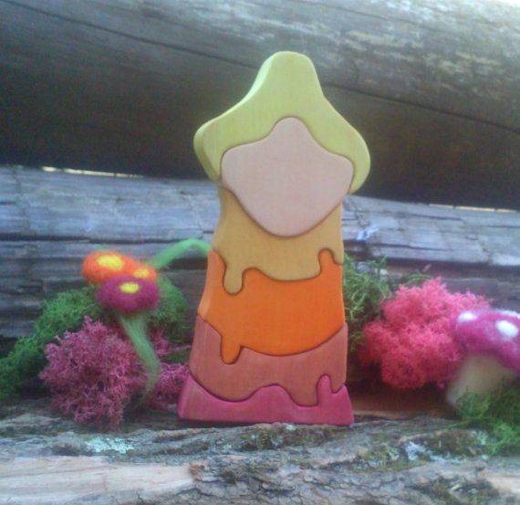 Autumn Forest Gnome - Wooden Puzzle Stacker Toy #Waldorf Style - this is a stacking puzzle toy which can help children improve their fine motor skills, concentration, develop ideas about size, shape, weight and distance. Now dressed in autumn colors. Happy playing :)