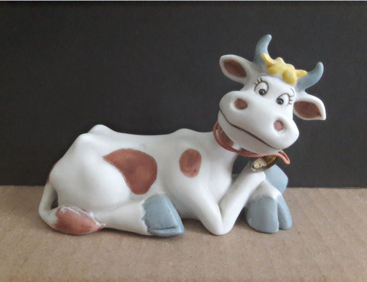 Visit CaliforniaMix Store: http://stores.ebay.com/CaliforniaMix  George Good  Cartoon Cow Ceramic Figurine Blue Hooves Horns Metal Bell 1980s #GeorgeGood