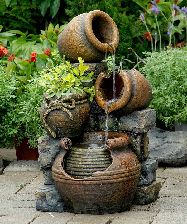 Look at this pots outdoor water fountain flower pot on for Statue jardin moderne