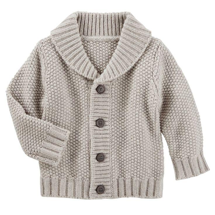 Baby Boy OshKosh B'gosh® Shawl Collar Cardigan, Size: 0-3 Months, Light Grey