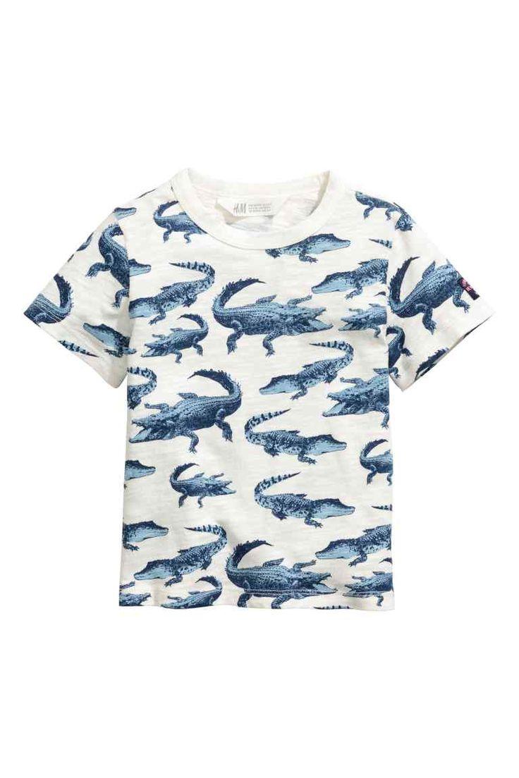 T-shirt avec impression - Blanc/crocodiles - ENFANT | H&M FR