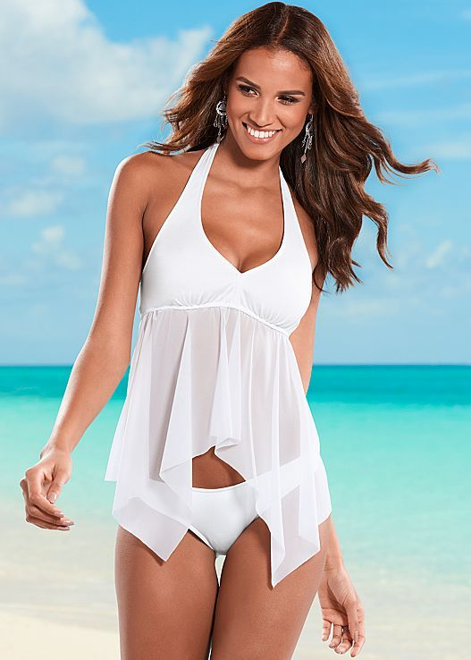 Don't mesh with this tankini! Venus mesh tankini top with Venus low rise bikini bottom.