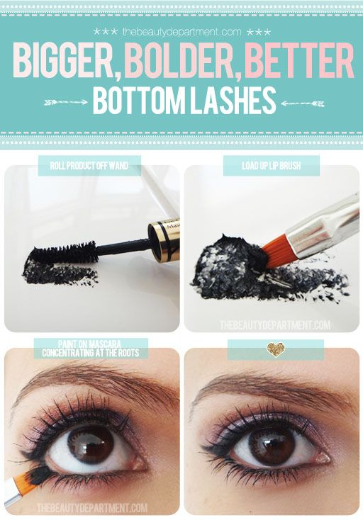 Hot Damn this is genius! I think I'll try it with a clean (disposable) mascara wand though. It will still keep the concentration of product at the minimum.: Lips Brushes, Bottoms Eyelashes, Makeup Hacks, Lower Lashes, Lashes Tricks, Better Bottoms, Mascaras Tricks, Applying Mascaras, Bottoms Lashes