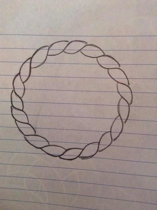 You will draw a rope on the outer part of the dream catcher. If you have any marks inside erase them. At the end it will look like this.