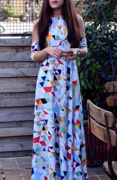 Crape shoulder cut Maxi Dress