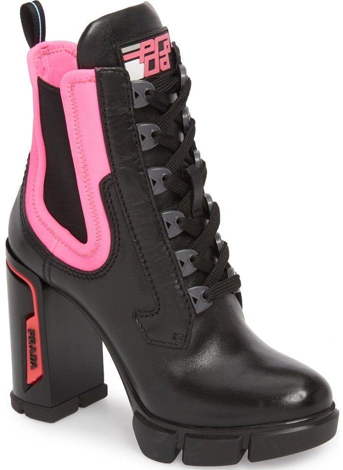 pink and white prada boots
