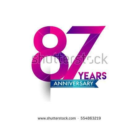 eighty seven years anniversary celebration logotype colorfull design with blue ribbon, 87th birthday logo on white background