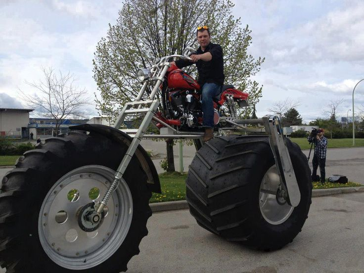 worlds largest motorcycle complete with tractor tires