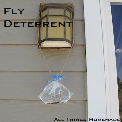 Fly Deterrent    Ingredients:  Ziplock Bag  A few pennies  Water    Directions:  Fill Ziplock bag with water, drop a penny or two in the bag and hang around your home or property. The reflection coming out of the bag is too intense for flies so they stay far far away. The reason this works is because a fly's eye is made of lots of little eyes (compound eyes) so instead of just seeing a little bit of light coming out of the bag like you and I do, they see a bright blinding light