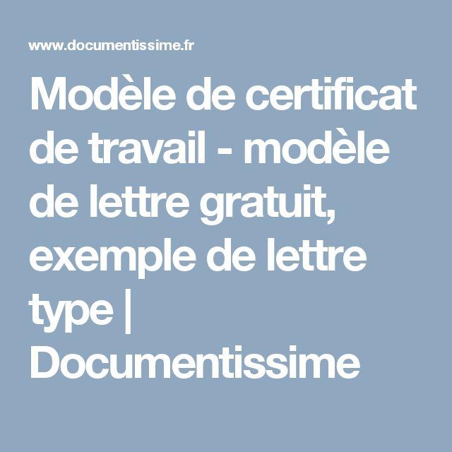 Modèle de certificat de travail - modèle de lettre gratuit, exemple de lettre type   Documentissime