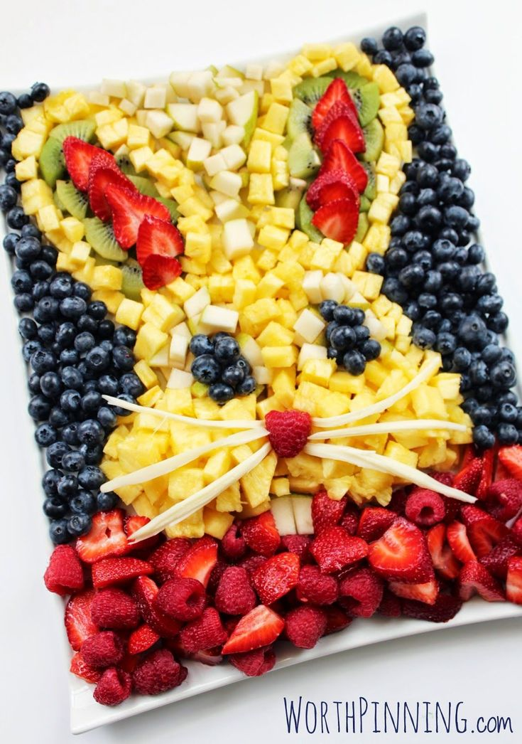 Bunny Head Fruit Platter easter fruit diy party ideas easter crafts easter ideas easter recipes easter party easter recipe food tutorials