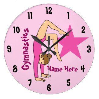 Girl Gymnast in Pink Wall Clocks
