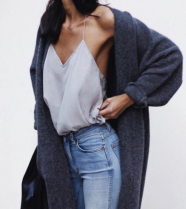 Love Nice lingerie with baggy cardigan and high waist jeans