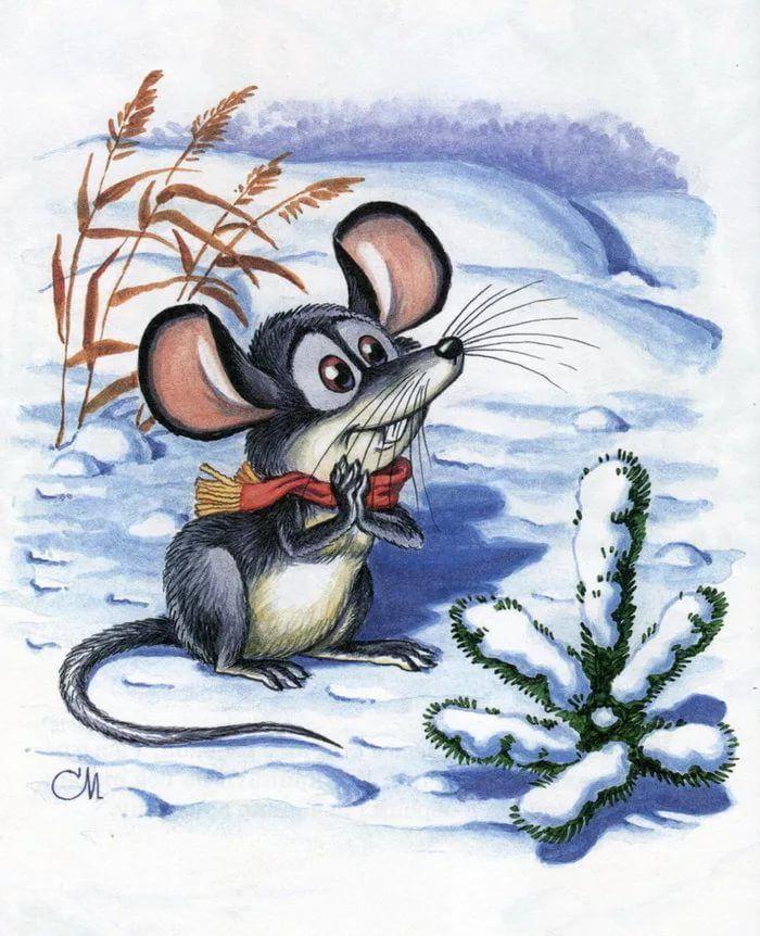 Картинки веселые мышки зимой, день рождения открытки