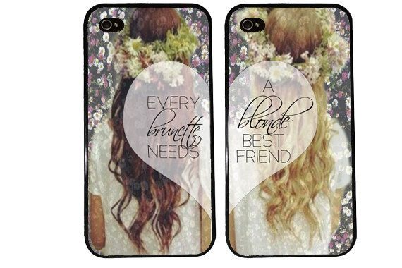 BLONDE BRUNETTE bff Case / Best Friends iPhone 4 Case Daisy iPhone 5 Case iPhone 4S Case iPhone 5S One For Your BFF Trendy Flower Crown