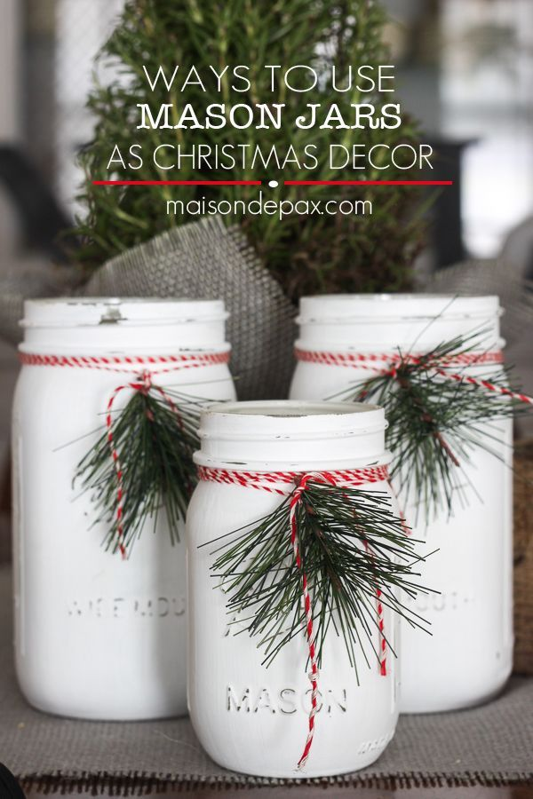 Mason jar luminaries - adorable and easy Christmas decor via http://maisondepax.com #diy #holiday #decoration