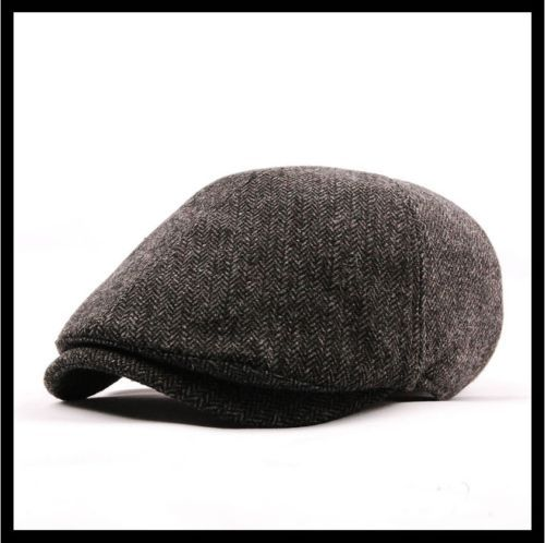 Newsboy Flat Cabbie Hat Herringbone Charcoal Colors L Size Hemp Blend Golf Cap