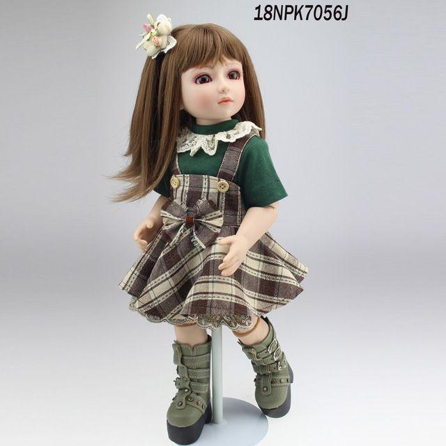 Nueva Llegada 1/4 (45 CM) 18 pulgadas SD/BJD Muñeca de Niña En Movimiento Incluyendo ropa suave realista de silicona de vinilo muñeca SD muñecas del bebé de Juguete