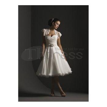 Stroppløse Sweetheart Hvite Chiffon Keen Billige Wedding kjoler
