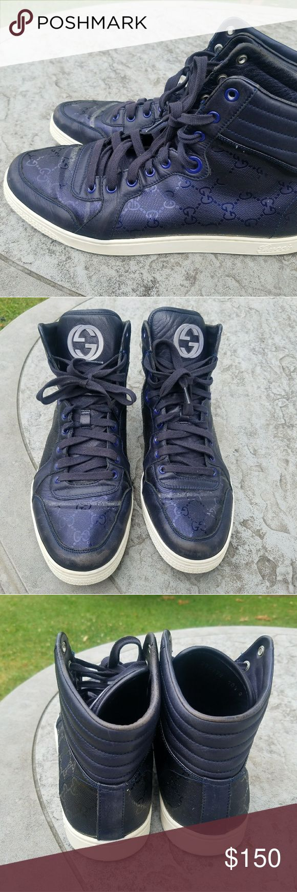 Gucci high top sneakers size 10.5 Sneakers are in good condition aside from scuffs on the leather at the toe area. Please study the pictures thoroughly before purchasing.  Please check out our listing for great deals. It's cut big so it also fit size 11. Gucci Shoes Sneakers