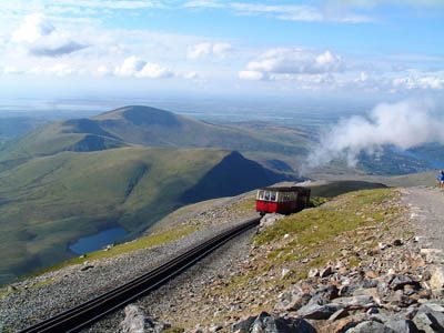 The train up Snowdonia mountain range, North Wales.