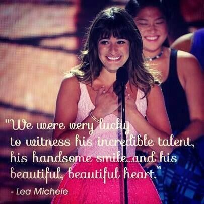 Lea Michele's speech for Cory Monteith. <3