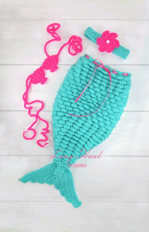 Photography Prop, Crochet Mermaid, Baby Outfit, Mermaid Outfit, Newborn Photography, Baby Accessories, Baby set, baby costume