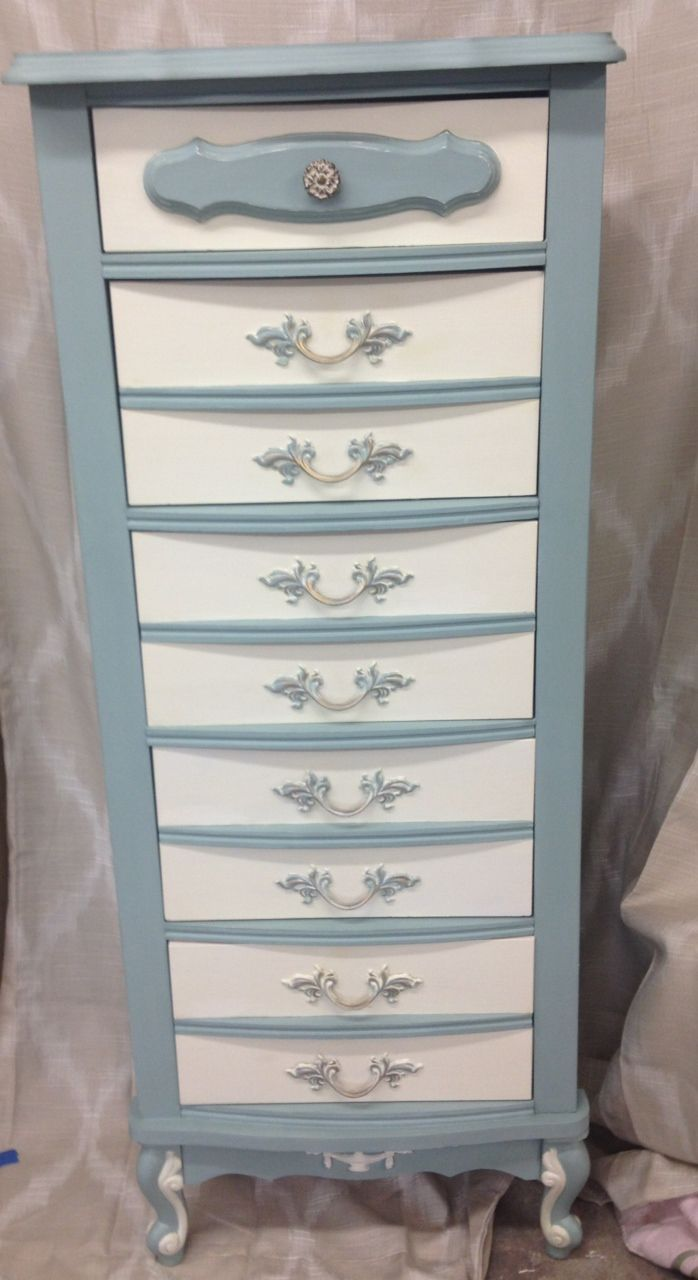 Painted furniture. French Provincial Lingerie Chest.  Hand painted in Annie Sloan chalk paint Duck Egg Blue and Old White.