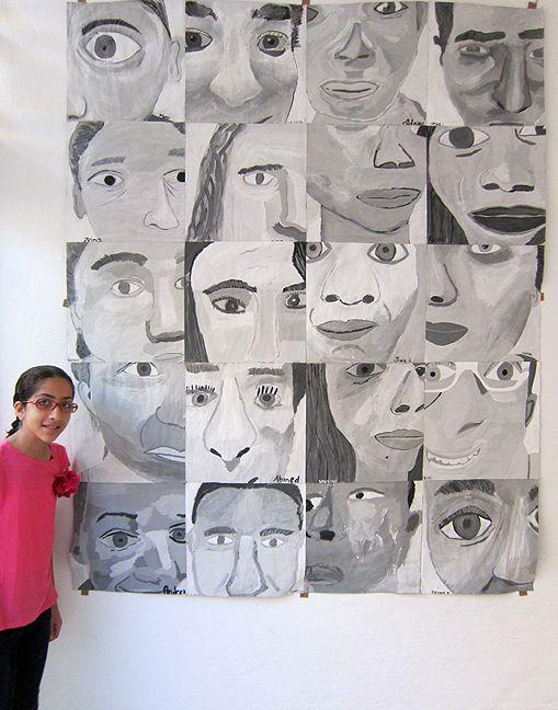 monochromatic cropped self portraits