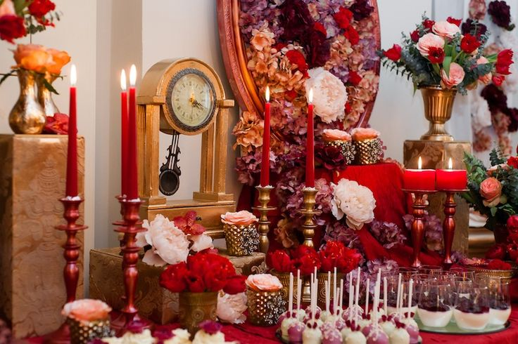 Luxurious red candy bar decorated with roses