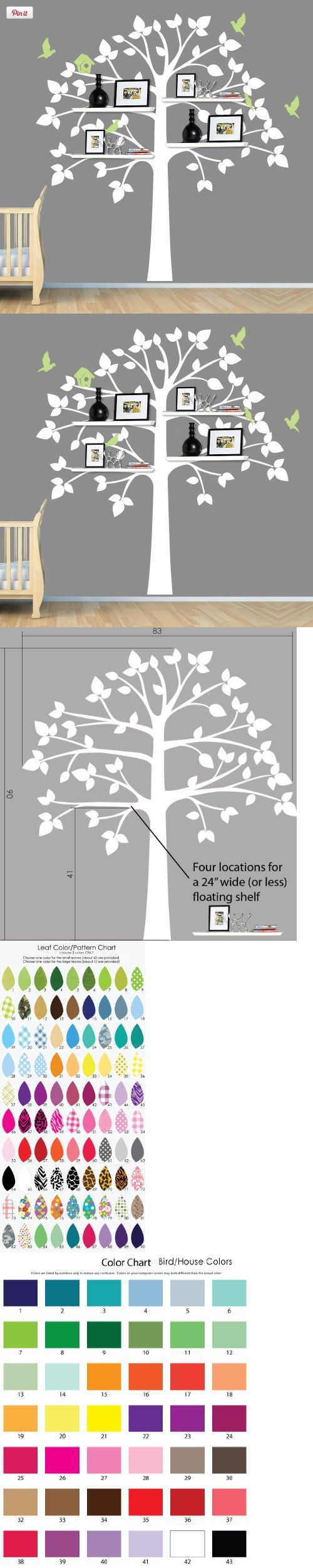 Childrens Wall Decals, White Tree Wall Decal, Perfect for Shelf or Shelving, If you want custom leaf choices then put that information in the gift note area when checking out or email me your choices. You can choose 2 leaf colors and 1 color for the birds/birdhouse. These wall..., #Baby, #Wall Stickers & Murals