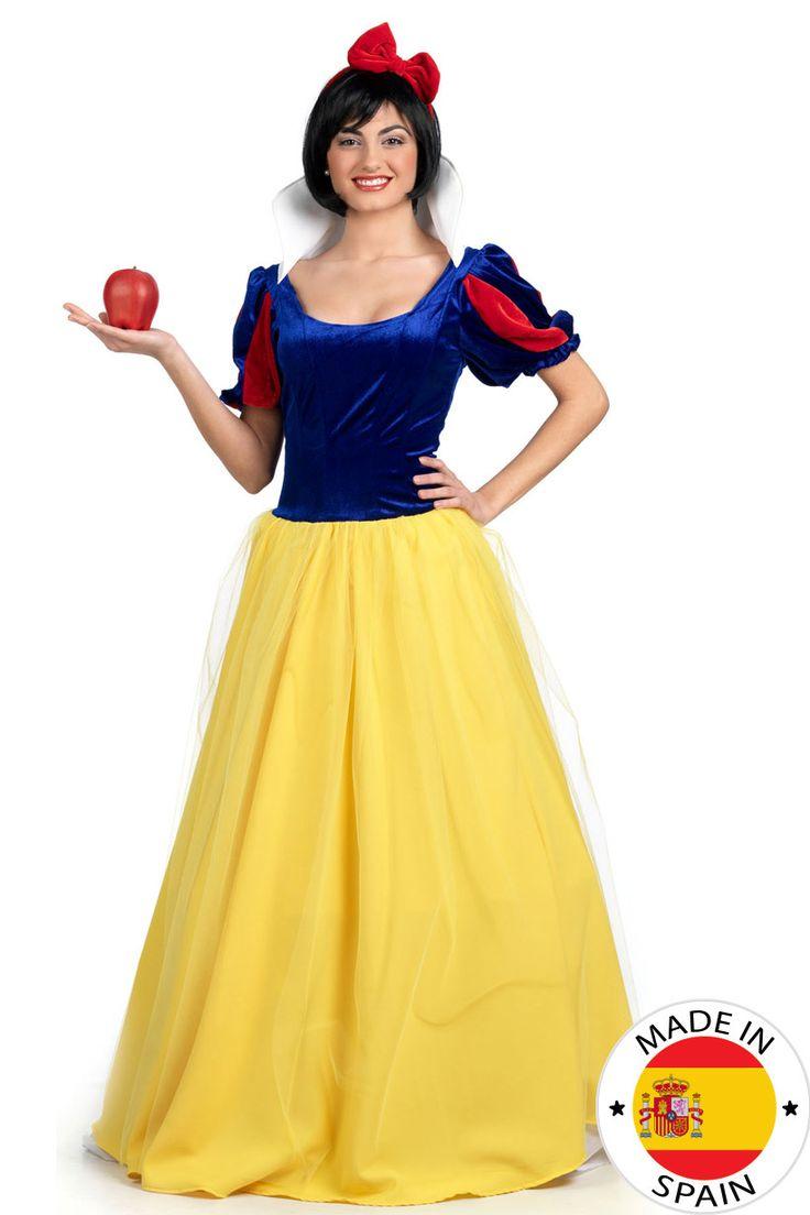 Disfraz Princesa cuento de hadas mujer: Este disfraz de princesa de cuento de hadas está fabricado en España e incluye un vestido y una diadema. La parte superior del vestido es efecto terciopelo de color azul oscuro con...