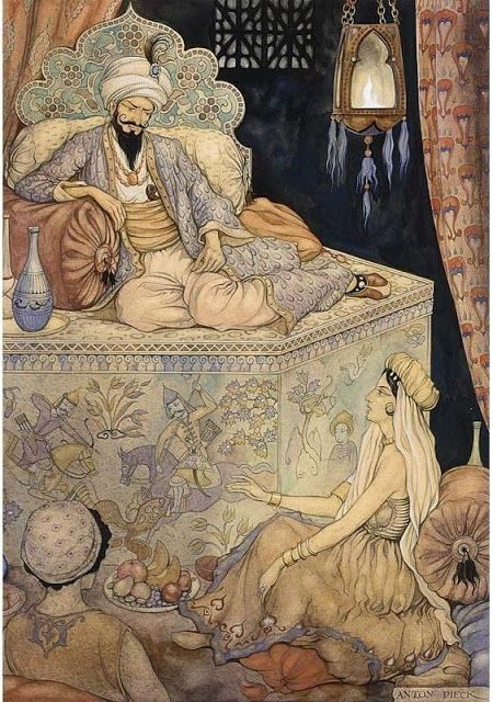 'The Art of Anton Pieck entitled The Story Telling of Queen Scheherazade to King Shahryar' JT (always in my own words) Information Source: artnet.com/ Image Source: artistsandart.org