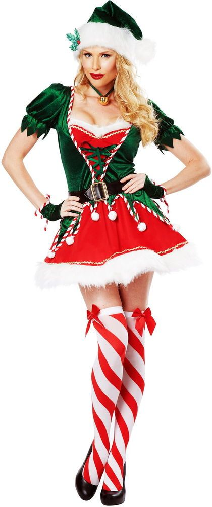 Santas Sexy Helper Candy Stripe Elf Fur Trim Dress Christmas Costume Adult Women #CaliforniaCostumeCollection