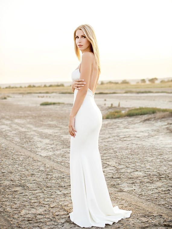 simple slip wedding dress on etsy