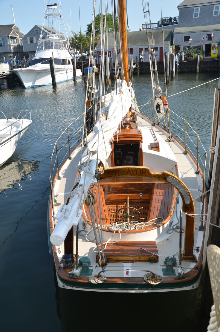 """This is the Friendship Sloop, """"Endeavor"""" based in Nantucket, MA.    Captain Jim Genthner built this boat.  Slip #1015, Straight Warf"""