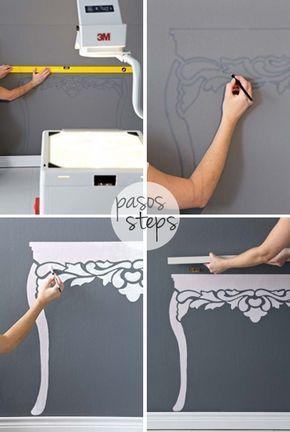 Falsa consola hecha con una repisa y pintando la pared