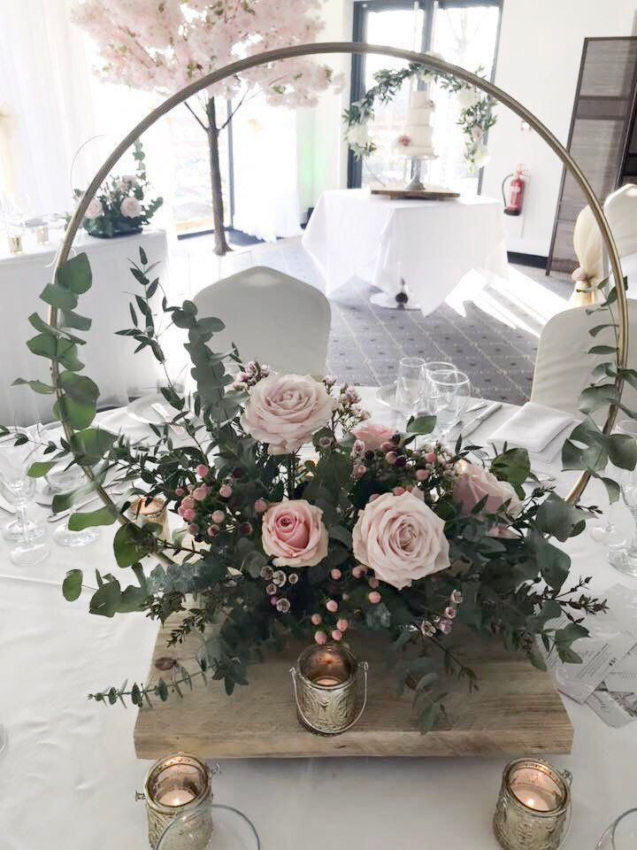 Hoop Centre piece. ideal for DIY brides, florists and venue dressers. Made with recycled reclaimed wood