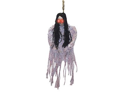 This three-foot hanging skeleton is armed with light-up eyes, lanky black hair, and pajamas. Sure to give anyone nightmares!