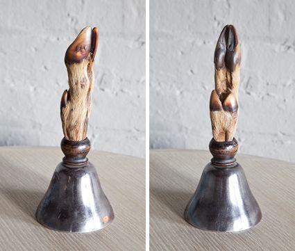 Bell with Hoof Handle | Maxine Snider Inc.  interior design, antique, vintage, curio, table top, display, taxidermy