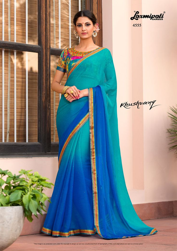 Mesmerizing Blue Colored #Chiffon, Stone & Pogo Work #Saree with Satin #Silk Printed Lace Border along with Multicolor Fancy Blouse by #Laxmipatisarees. Catalogue-KHUSHRANG Price -₹2083.00 Design Number-4555  #Cashondelivery #Orderonline #Freeshipping #KHUSHRANG0317