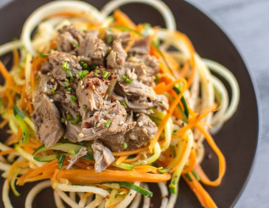 Asian Slow Cooker Pork with Zucchini Carrot and Apple Noodles | healthynibblesandbits.com
