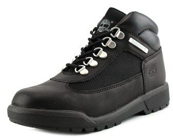Timberland Field Boot Youth Round Toe Leather Black Hiking Boot.