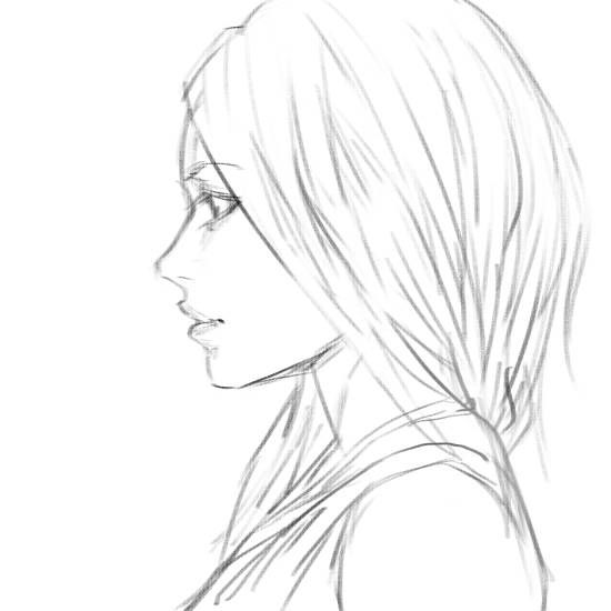 anime girl side view coloring