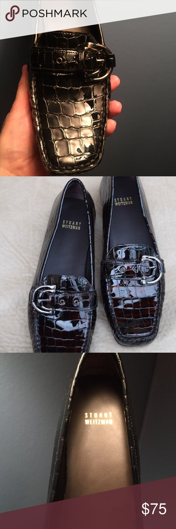 """New Stuart Weitzman Blk Patent Leather Loafers 10M Stuart Weitzman Patent Croc Embossed Patent Loafers Womans Size: 10-M  Featuring, Moc Toe Stitching,Single Stap with GunMetal colored buckle.   Insoles are fully lined in Brazilian Smooth Leather.   Bottom of soles are a Black, non marking rubber. Great pattern on Foot-Bed and heel for traction. These are from the Drivers edition, The End of the heel wraps up around 1 1/2"""" Vertically for that driving shoe feel.   Very European, Shoes ARE…"""