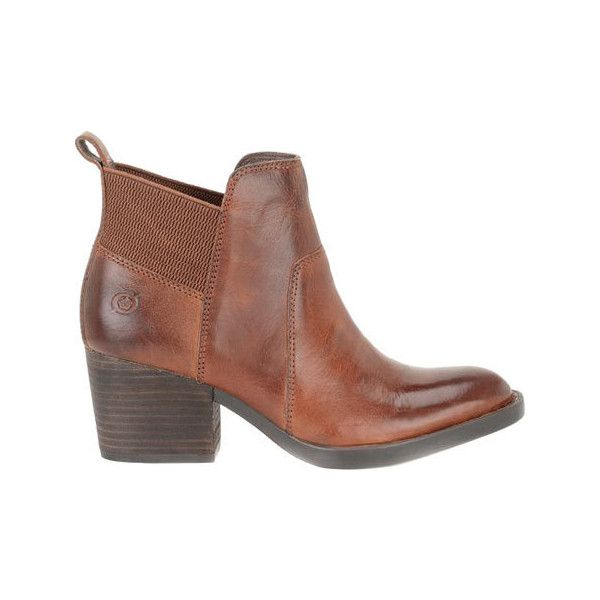 Women's Born Garcia Ankle Boot - Cognac Full Grain Leather Casual ($135) ❤ liked on Polyvore featuring shoes, boots, ankle booties, brown, casual, suede shoes, born boots, cognac ankle boots, thick heel booties and brown booties