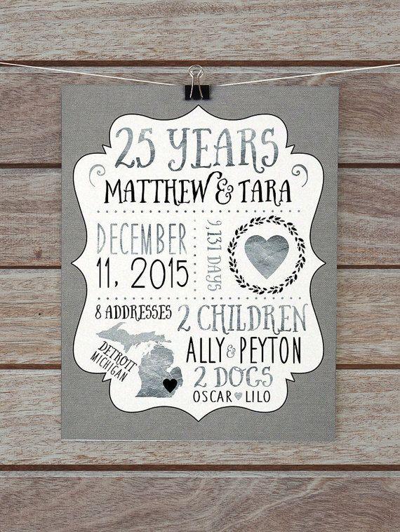 25 Year Anniversary Gift Silver Wedding Anniversary