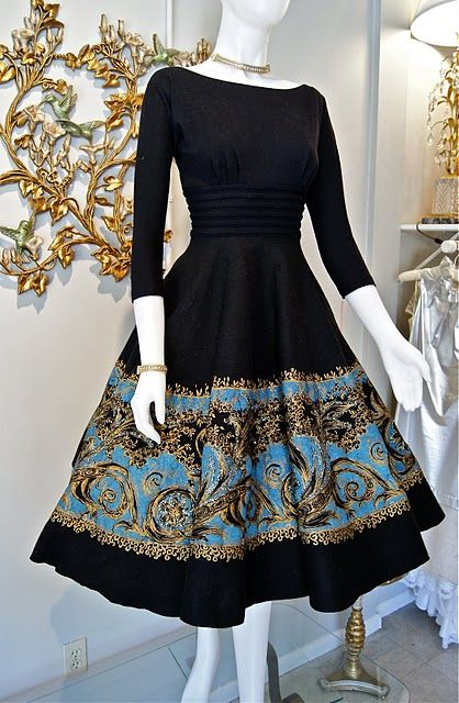 Vintage dress + black + gold + blue + full skirt + boat neck + three quarter sleeves... I can't put into words how much I adore this!